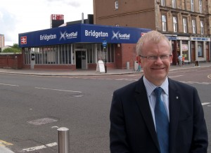 Rail campaigner, John Mason MSP, pictured outside Bridgeton rail station in his constituency