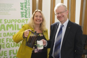 Promoting MacMillan's big coffee morning at a Scottish Parliamentary reception